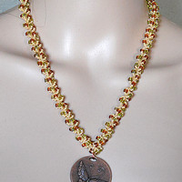 Butterfly In The Woods Beaded Necklace