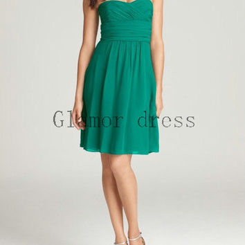 short green chiffon bridesmaid gowns    simple sweetheart dresses for wedding prom    cheap elegant prom dresses bridesmaid dress