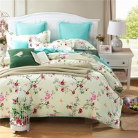 100%Cotton Blue Plum flower Duvet cover set king Twin Queen size Wedding bed set include One Quilt cover Two pillowcase 3PCS
