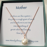 Pearl necklace - single pearl on Rose gold vermeil rose gold chain - gift for mom