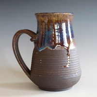 Pottery Mug, 16 oz,  unique coffee mug, handmade ceramic cup, handthrown mug, stoneware mug, wheel thrown pottery mug, ceramics