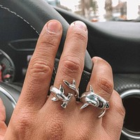 2 Pcs/set Personality Shark Opening Silver Ring