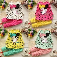 UNIKIDS Fashion 2016 Baby Set Dot Cotton Baby Girl Clothes Causal Suits . Clothing Set Girl (Pants+T-shirt) Spring/Summers