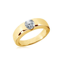 1.50 carat Solitaire engagement ring yellow gold 14K new anniversary ring