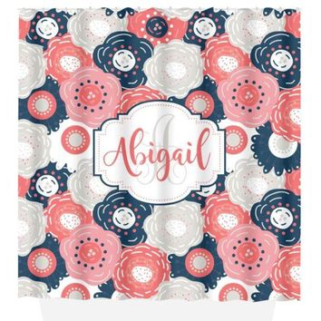 Floral Monogram SHOWER CURTAIN, Navy Pink Coral, Flower Bathroom Decor, Personalized Girl, Shared Sister Bathroom, Bath Towel, Bath Mat