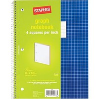 Staples® Graph Ruled 4x4 Spiral Notebook, 8 x 10-1/2, Blue