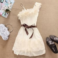 Apricot One Shoulder Ruffled Chiffon Dress