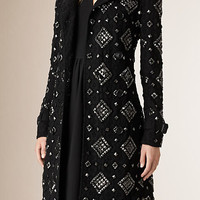 Studded English Lace Trench Coat