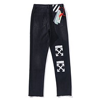 Off White & Champion New fashion letter arrow print high quality pants Black