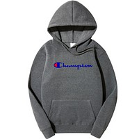Champion Winter Tide brand men's and women's style printing plus velvet hoodie sweater F0278-1 Dark Gray