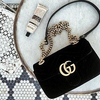 GG Trending Women Stylish GG Velvet Leather Metal Chain Handbag Crossbody Satchel Shoulder Bag Black 2