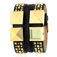Karl Lagerfeld Women's KL2014 Black/Gold Tone Stainless Steel and Leather Watch