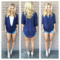Navy 3/4 Sleeve Nautical Open Top
