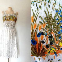 Country garden wildflower summer dress / gold / teal / black / vintage / 1940s ~ 1950s style / cotton / cheesecloth / white floral sundress
