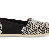TOMS Black Woven Diamond Women's Classics Black