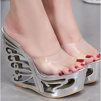 New style leather buckle wristband metal decorative waterproof platform super high heel slippers