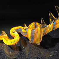 """Multicolor Hand Blown Glass Smoking Pipe Spoon Style Bowl Glass Dragon Pipe 5"""""""