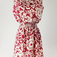 Red Elastic Waist Floral Print Sleeveless Dress