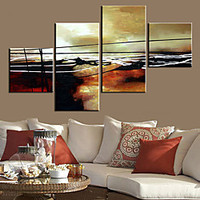 Stretched Canvas Art Abstract Lines Set of 4 | LightInTheBox