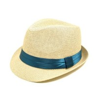 TrendsBlue Classic Natural Fedora Straw Hat with Blue Color Band