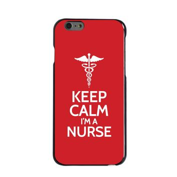 """DistinctInk® Hard Plastic Snap-On Case for Apple iPhone - Red White """"Keep Calm Im a Nurse"""""""