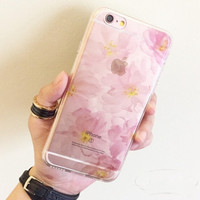 Translucent Pink Floral Soft Iphone 6 plus 6s Case Cover