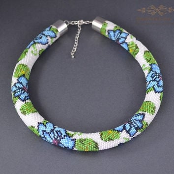 Jewelry, Necklaces, Beadwork, Necklace, bead crochet rope - Blue Flower