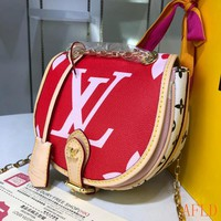 HCXX 19Aug 583 Louis Vuitton LV Monogram Canvas Chain Hard Shell Cluch BagLeather Saddle Bag
