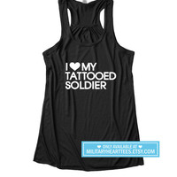 I Love my Tattooed Soldier Racerback Tank Top, Army tank top, Army wife shirt, Army Girlfriend shirt, I love my soldier, Army workout