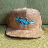 """String Cheese Incident """"Life is Gouda"""" tan corduroy snap back hat"""