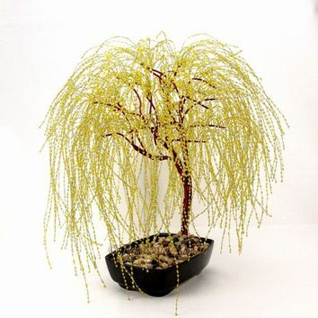 Golden Weeping Willow Beaded Bonsai Tree Glass by RosewindStudio