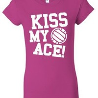'Kiss My Ace' Volleyball Juniors Slim Fit T-Shirt