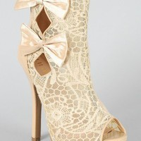 Liliana Pagodan-3 Bow Floral Lace Bootie