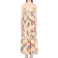 FREE PEOPLE Floral print silk-blend maxi dress
