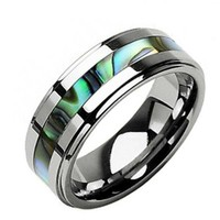 8mm Tungsten Carbide Band Abalone Shell Inlay Step Edge Men's Wedding Ring Size 8.5