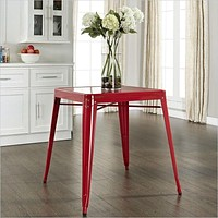 Modern Classic French Cafe Style Metal Dining Table in Red
