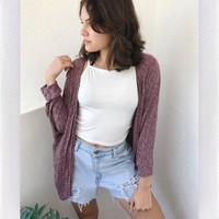 COLD NIGHTS CARDIGAN-  BURGUNDY