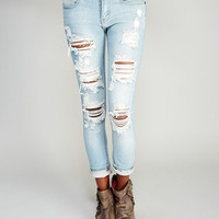 Machine™ Destroyed Roll Cuff Skinny Jeans | Wet Seal
