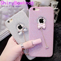 Phone Case For iPhone SE 5 5S 6 6S 7 Plus New Arrival! Bling Glitter Powder Shine Bowknot Phone Back Cover With LOGO Window