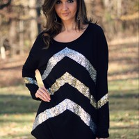 Fashionomics Black Soft Knit Tunic with Gold and Silver Sequins