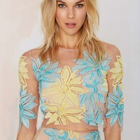 Nasty Gal x For Love and Lemons Wild Flower Embroidered Crop Top