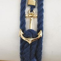 Nautical Mile Anchor Rope Knot Bracelet in Navy Blue   Sincerely Sweet Boutique