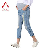 New Jeans Maternity Pants For Pregnant Women Clothes Trousers Nursing Prop Belly Legging Pregnancy Clothing Overalls Ninth Pants