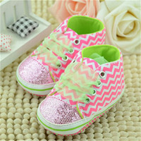 Cute Kids Stripe Sneaker Toddler Baby Girl Sole Crib Soft Pink Shoes 0-12M UBY