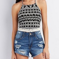 PRINTED FRINGED & CROPPED HALTER TOP