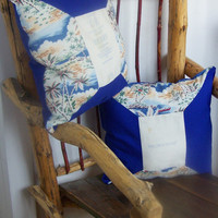 Vintage Aloha Fabric and C&H Sugar Sack Throw Pillow Set, Pacific Blue, Island Themed Pillows, Tropical Beach with Palm Trees