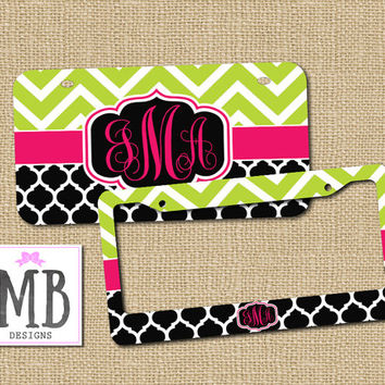 Personalized License Plate, Monogram License Plate Frame, Cute Car Tags, Vanity License Plate, Chevron License Plate, Bike Accessories
