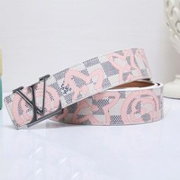 "LV Belt Stars Print ""Louis Vuitton""Waistband Fashion Smooth Buckle Monogram Leather Print Belt White"