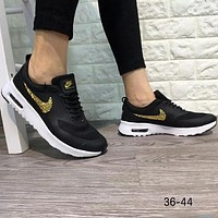 NIKE AIR MAX THEA breathable summer air jogging shoes sneakers F-A0-HXYDXPF Black+gold logo