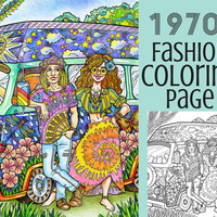 Adult Coloring Book Page- 1970s Hippie Fashion Coloring Page